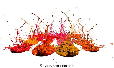 3d paints dance in 4k on white background. Simulation of splashes of ink on a musical speaker that play music. beautiful splashes as a bright background in ultra high quality. Version shades of red 6