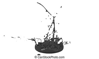 3d paints dance in 4k on white background. Simulation of splashes of ink on a musical speaker that play music. beautiful splashes as a bright background in ultra high quality. Black V 1