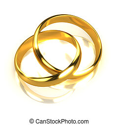 3d Pair of gold rings entwined