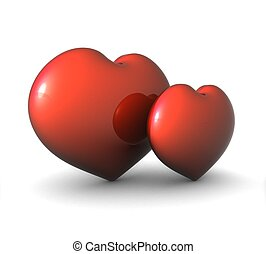 3d pair of red hearts on a white background