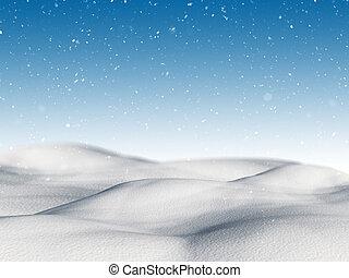 3d, paisagem, nevado