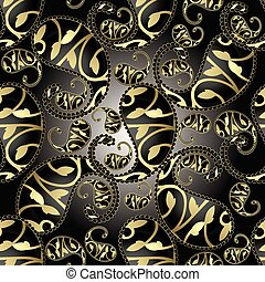 3d paisley seamless pattern. Vector floral black background with