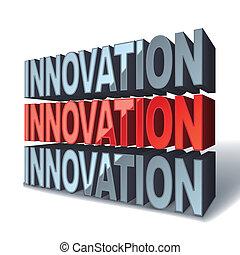 3d, palabra, rojo, innovación