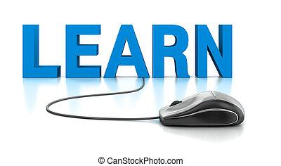 3d, palavra, aprender, com, rato computador