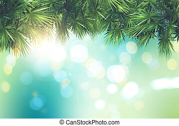 3D palm tree leaves on a defocussed bokeh lights background