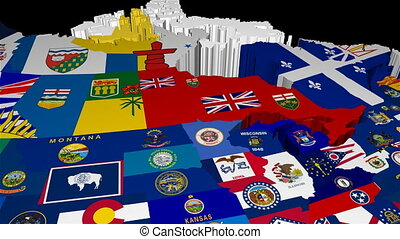 3D Pan Map of USA with State Flags