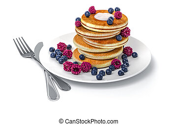 3d pancake on white background