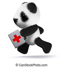 3d Panda bear running with a first aid kit