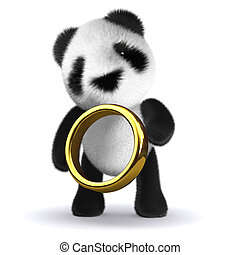 3d Panda gold ring