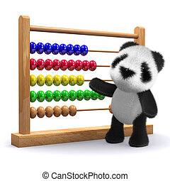 3d Panda with an abacus