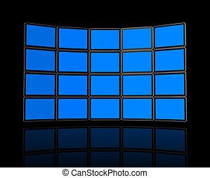 Wall of flat tv screens - 3D panel / Wall of flat tv...