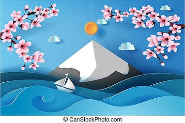 3D paper art of illustration Spring season sea view scene with sky and cloud, Landscape snowy mountain for sakura branch or Floral Cherry blossom pink beautiful spring time, creative paper cut vector.