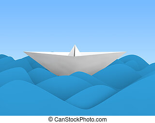 3D paper boat in waves