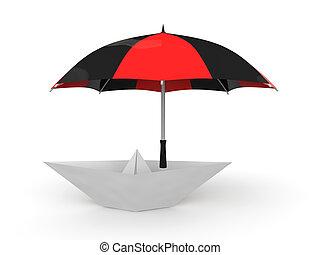 3d paper boat under umbrella