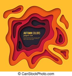 3d paper cut style background. Shapes with shadow in Autumn colors - yellow, orange, burgundy and violet. Design for decoration, business presentation, posters, flyers, prints, vector.
