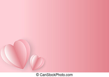 3d Paper elements in shape of heart  on pink background.