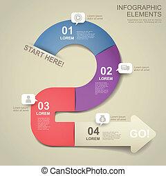 3d paper flow chart infographic elements