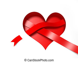 3d paper heart with red ribbon
