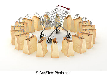 3d paper shopping bags on white background