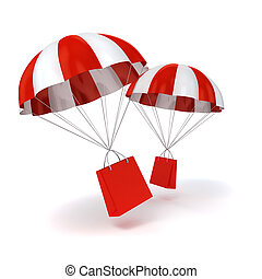 3d parachute and shopping bag