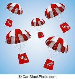 3d parachute and shopping bag