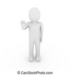 3d, parada, mão humana