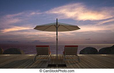 3d, parapluie, daybed, bois, image, rendre, terrasse, vue mer, crépuscule