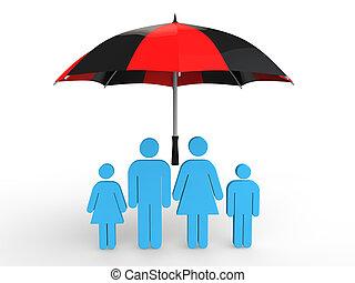 3d, parapluie, famille, sous