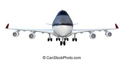 3d passanger plane isolated on white background