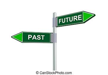 3d, passato, futuro, segno strada