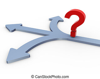 3d path selection - 3d render of question mark at the ...