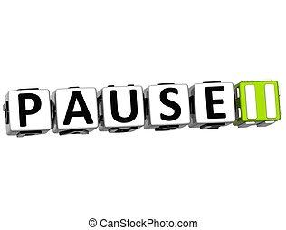 3D Pause Navigation Button cube text