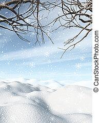 3d, paysage, arbres, hiver, neigeux