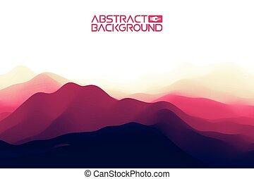 3d, paysage, arrière-plan., pourpre, gradient, résumé, vecteur, illustration.computer, art, conception, template., paysage, à, sommets montagne