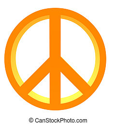 3D Peace Sign - 3D orange peace sign on a white background