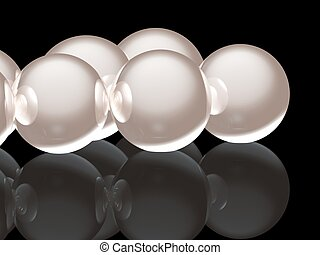 3d Pearls - A render of a pile of 3d pearls isolated on a...