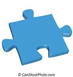3d, pedazo del rompecabezas, azul