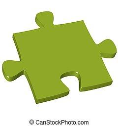 3d, pedazo del rompecabezas, verde