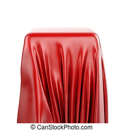 3d pedestal and red fabric on white background