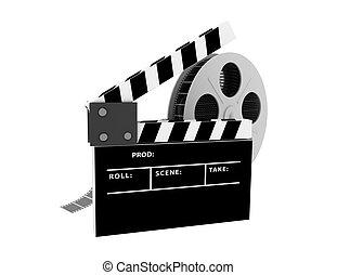 3d, película, aplaudidor, branco, fundo