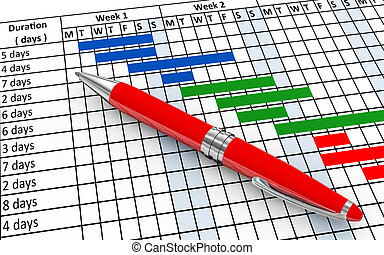 3d pen and gantt chart - 3d render of pen and project gantt ...
