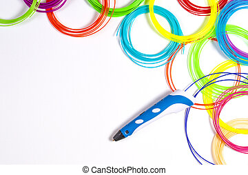 3d pen with colourful plastic filament on white background.