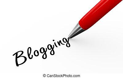 3d pen writing blogging - 3d render of pen writing blogging...