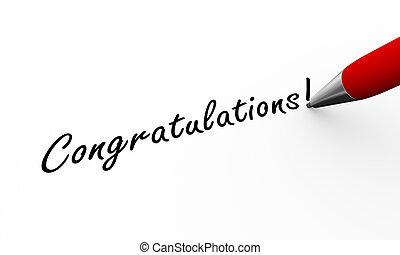3d pen writing congratulations illustration