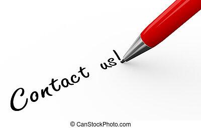 3d pen writing contact us - 3d render of pen writing contact...