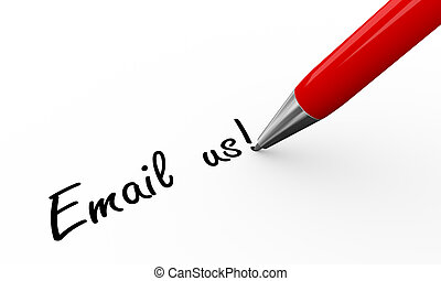 3d pen writing email us - 3d render of pen writing email us...