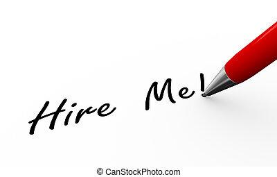 3d pen writing hire me illustration - 3d rendering of pen...
