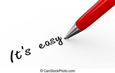 3d pen writing it's easy - 3d render of a pen writing it is...