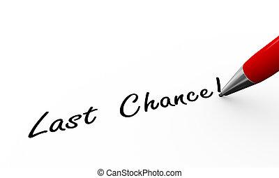 3d pen writing last chance illustration - 3d rendering of...