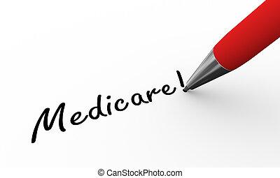 3d pen writing medicare illustration - 3d rendering of pen...